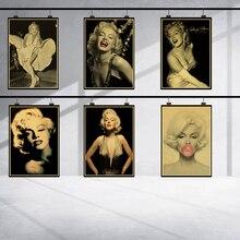 Póster vintage retro de Marilyn Monroe con imagen de mujer sexi para decoración del hogar, póster de alta calidad de kraft rock, papel tapiz clásico