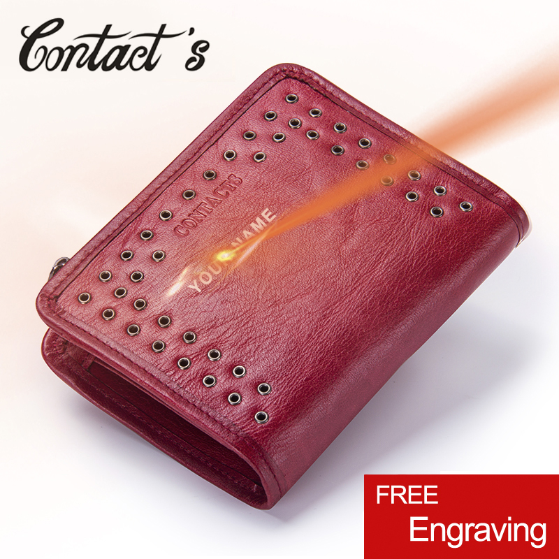 Contact's 2020 Womens Wallet Leather Genuine Small Short Wallets And Purses Luxury Brand Coin Pocket Money Bag With Card Holder