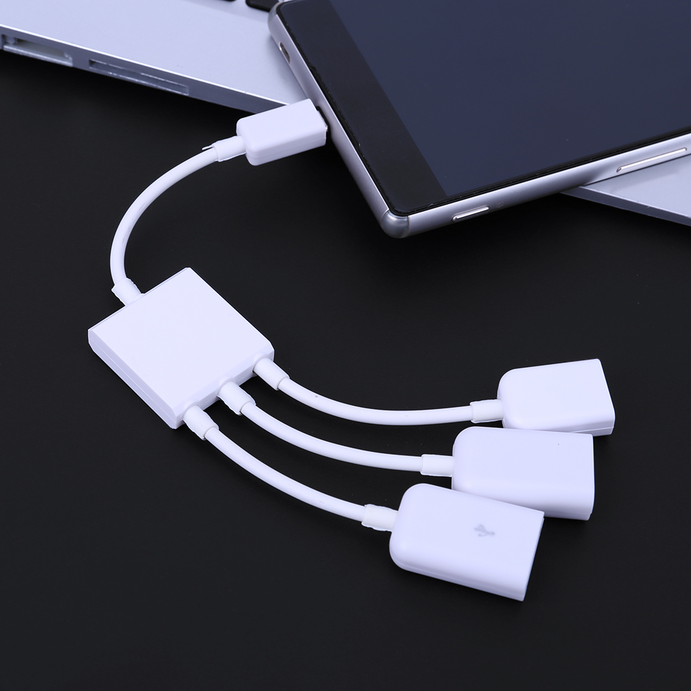 3 in 1 Micro USB OTG Converter Cable Male to Female OTG HUB Adapter for Android Tablet PC Smart Devices with OTG function sweet style round neck long sleeve printed pocket design cardigan for women