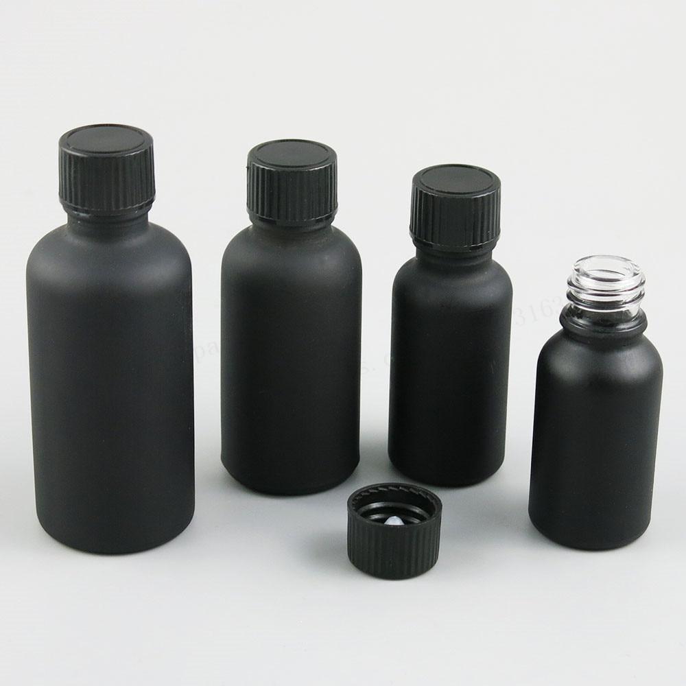 12 X Refillable Matt Black Glass Essential Oil Bottle With Black Phenolic Cone Lined Caps 5ml 10ml 15ml 20ml 30ml 50ml 100ml