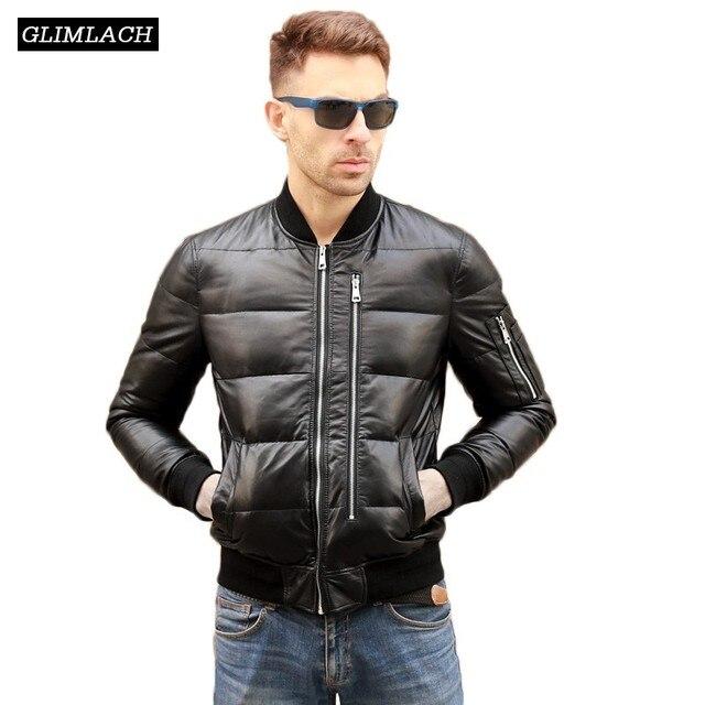 Vestes dhiver en cuir véritable homme, chaud et blanc, en duvet de canard, manteaux de vol, vestes en cuir véritable de bombardier en peau de mouton, de grande taille, Aviation
