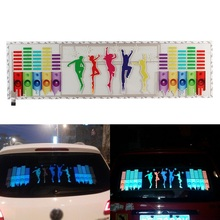 цены на 90X25CM Red Yellow Blue Green Rosy Change Car Sticker Music Rhythm LED Flash Light Lamp Voice-activated Equalizer Stickers  в интернет-магазинах