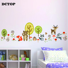 Cute Woodland Bear Deer Bunny Fox Wall Stickers Forest Critters Animal Decal Kids Room Living Home Decoration art Wallpaper
