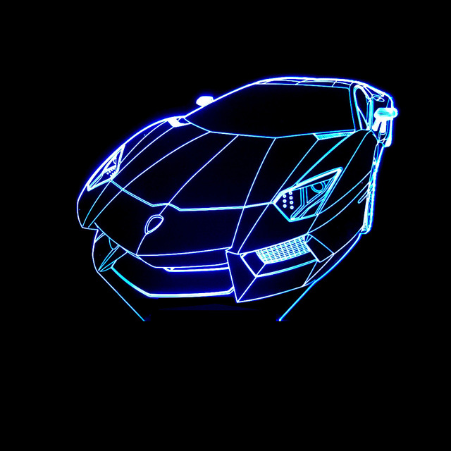 Sports Car Modeling 3d Led Lamp 7 Color Change Remote Touch Switch
