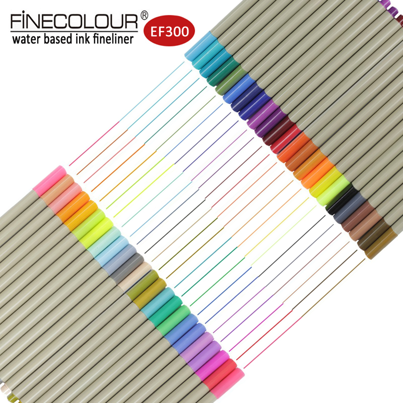 цена на Finecolour Sketch Fineliner Drawing Needle Pen 16/24/48 Set Fine Line Hook Art Markers 0.3mm Micron Water Based Colored Marker