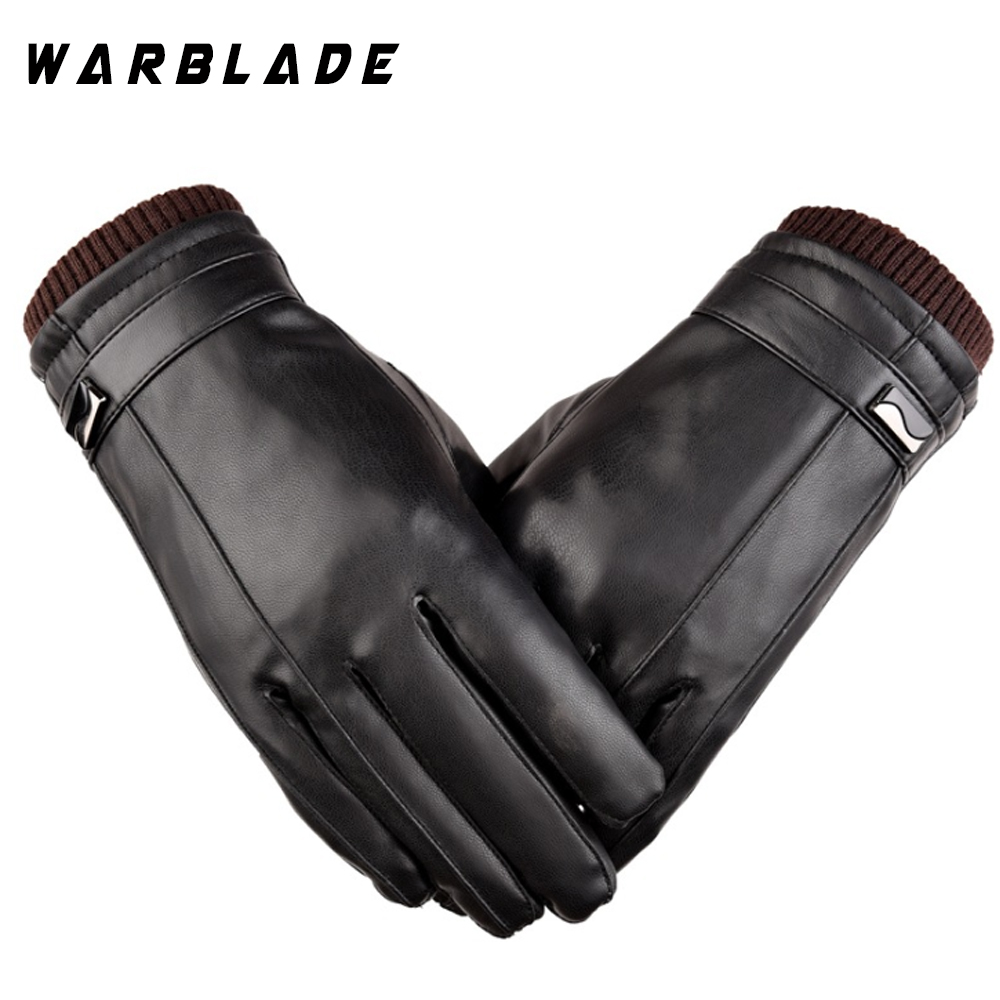 Hot Men's Luxurious PU Leather Winter Driving Warm Gloves Cashmere Tactical Gloves Black Drop Shipping High Quality WBL