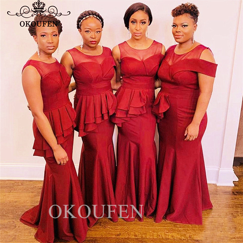 2019 Red Mermaid   Bridesmaid     Dresses   With Pepulm Sheer Neck Wholesale Price Long Maid Of Honor   Dress   For Wedding Party