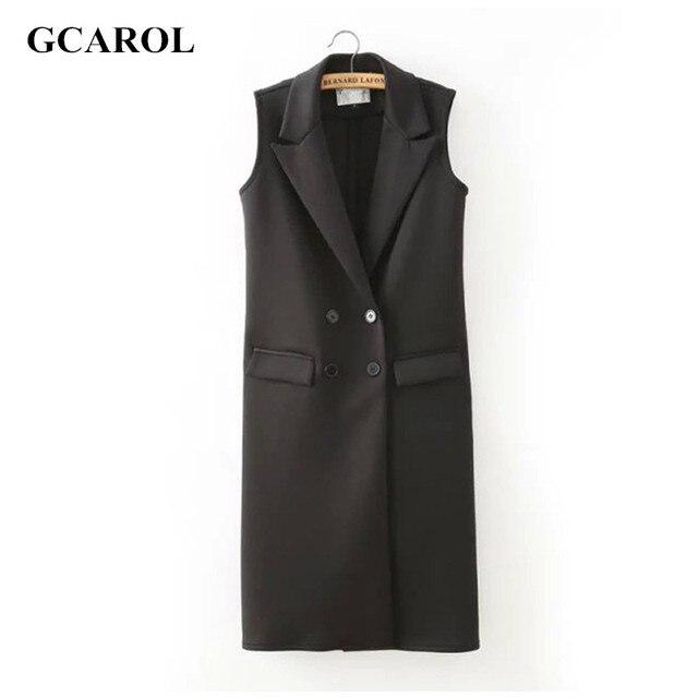 Женщины новое поступление черный длинный жилет двубортный кнопка лето весна осень мода марка жилет пр работа в офисе жилет женская одежда