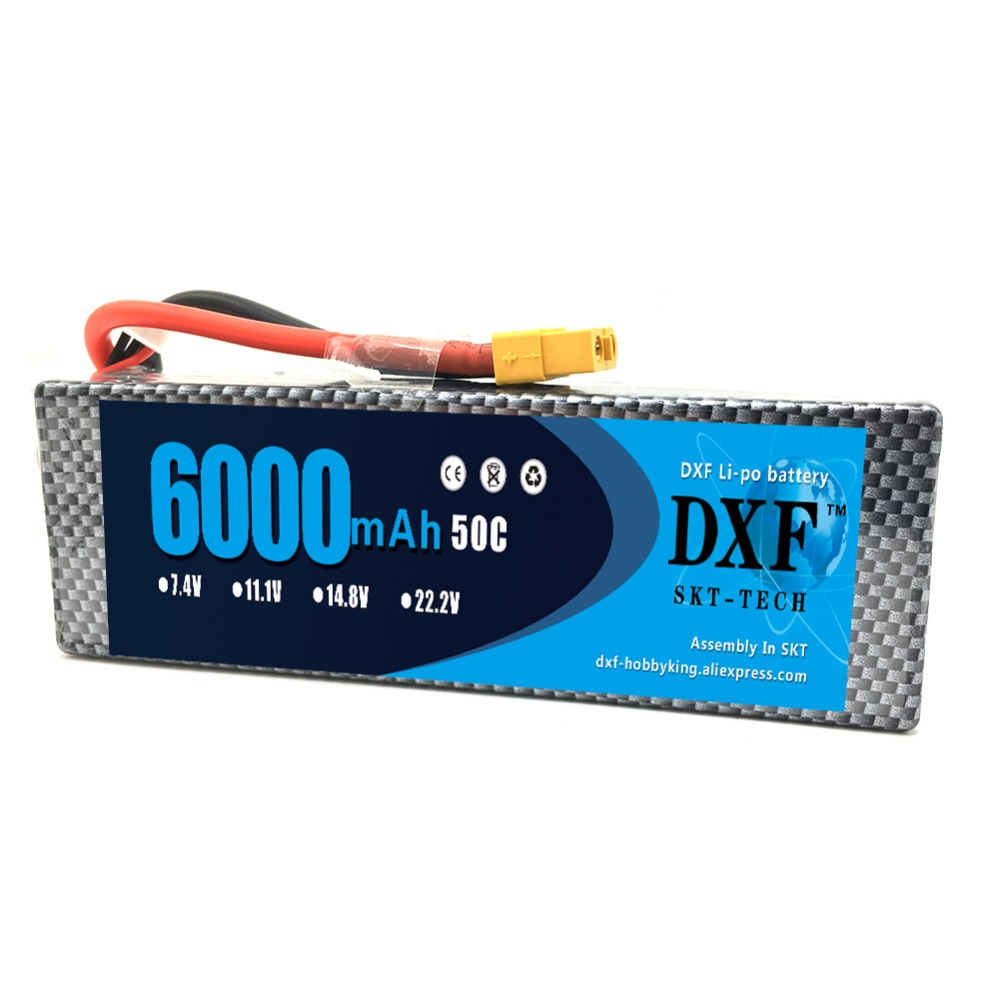 DXF <font><b>Lipo</b></font> Battery RC Parts <font><b>2S</b></font> 7.4V <font><b>6000mAh</b></font> 50C Hard Case AKKU Rechargeable For Traxxas 1/10 Car Drone Helicopter Boat FPV image