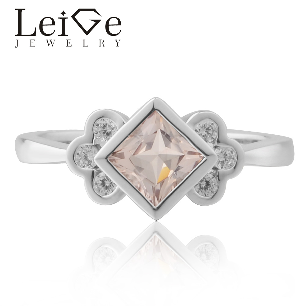 Leige Jewelry Real Morganite Ring Princess Cut Pink Gemstone Engagement Rings For Woman Sterling Sliver 925Leige Jewelry Real Morganite Ring Princess Cut Pink Gemstone Engagement Rings For Woman Sterling Sliver 925