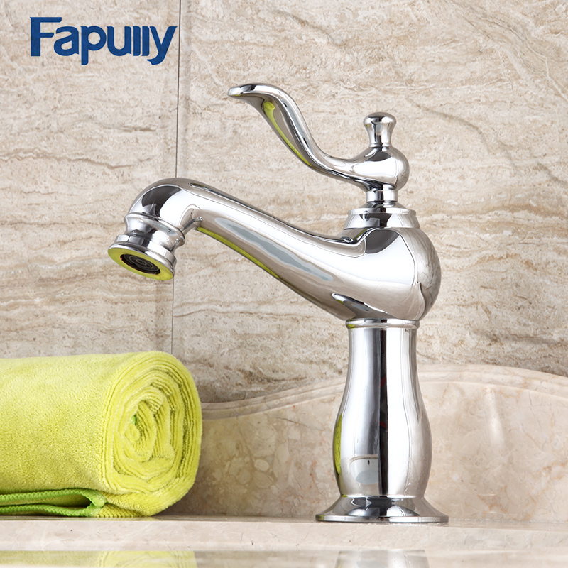 Fapully Basin Gold Bathroom Faucet Single Handle Chrome Gold Finish Deck Mounted Bathroom Mixer Tap Hot And Hot Water sognare square chrome bathroom faucet deck mounted basin mixer faucet hot and cold water tap single handle bathroom mixer d1108