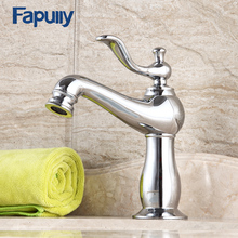 Fapully Basin Gold Bathroom Faucet Single Handle Chrome Gold Finish Deck Mounted Bathroom Mixer Tap Hot And Hot Water 554-11C two types handle chrome finish wall mounted single handle bathroom mixer water taps high quality best price