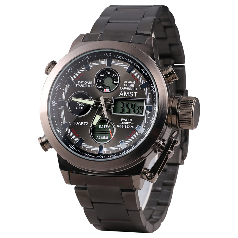 AMST Military Watches Stainless Steel Strap LED Watches Men Top Brand Luxury Quartz Watch Reloj Hombre Relogio Masculino
