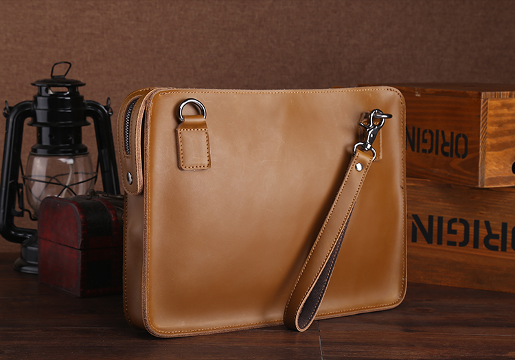 A4 File Folders For Documents Padfolio With Handle Retro Genuine Leather Briefcase Handbag For Macbook Tablet Bag Holder 1366