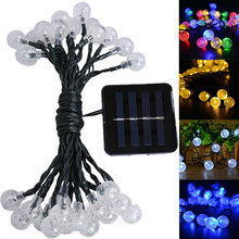 Festival Garden Decorative Lamp New 20LED Light Solar Powered Fairy Bubble Ball String Light Outdoor for Christmas LS
