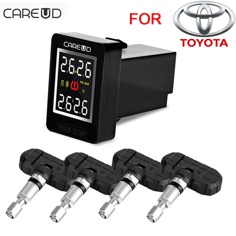 CAREUD U912 Car TPMS Wireless Auto Tire Pressure Monitoring System with 4 Built-in Sensors LCD Embedded Monitor For Toyota universal hotaudio dasaita built in tpms car tire pressure monitoring system car tire diagnostic tool with mini inner sensor