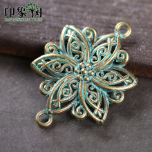 5pcs 28*40mm Zinc Alloy Verdigris Patina Plated Flower Charms Accessories For DIY Jewelry finding 27041(China)