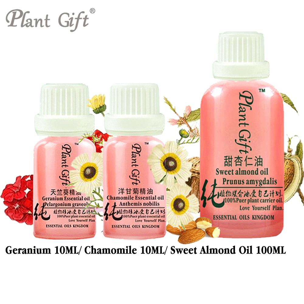 цена на 100% pure plant essential oils French imports Geranium / chamomile / sweet almond Hemostasis Antibacterial Antiphlogistic SET