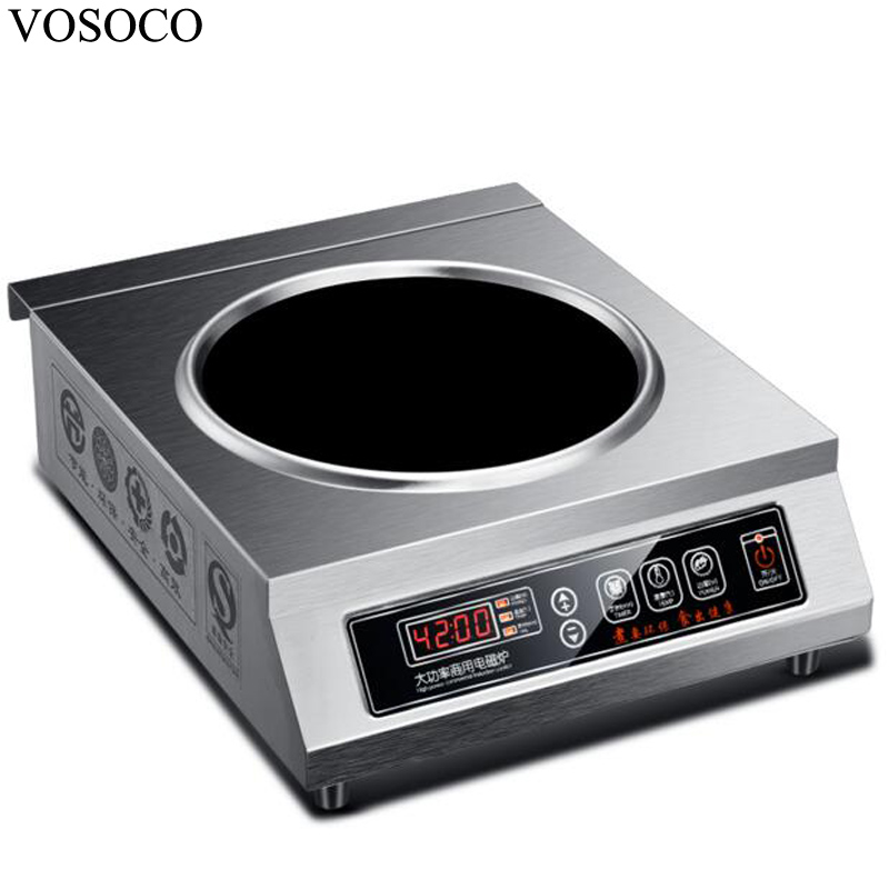 все цены на VOSOCO Electromagnetic furnace induction cooker 4200W electromagnetic stove 11 gear with concave commercial electromagnetic oven онлайн
