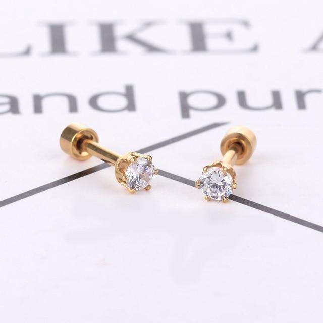 3mm Women Small Round Crystal Zircon Stud Earrings Cute Plain Simple Studs