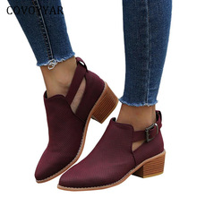 COVOYYAR 2019 Perforated Winter Women Boots Pointed Toe Ankle Booties Block Heel Buckle Strap Autumn Shoes Woman WBS485