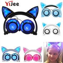 YiJee кошачьи наушники с светодиодный мигающий светящийся свет гарнитура игровые наушники для ПК компьютера и мобильного телефона