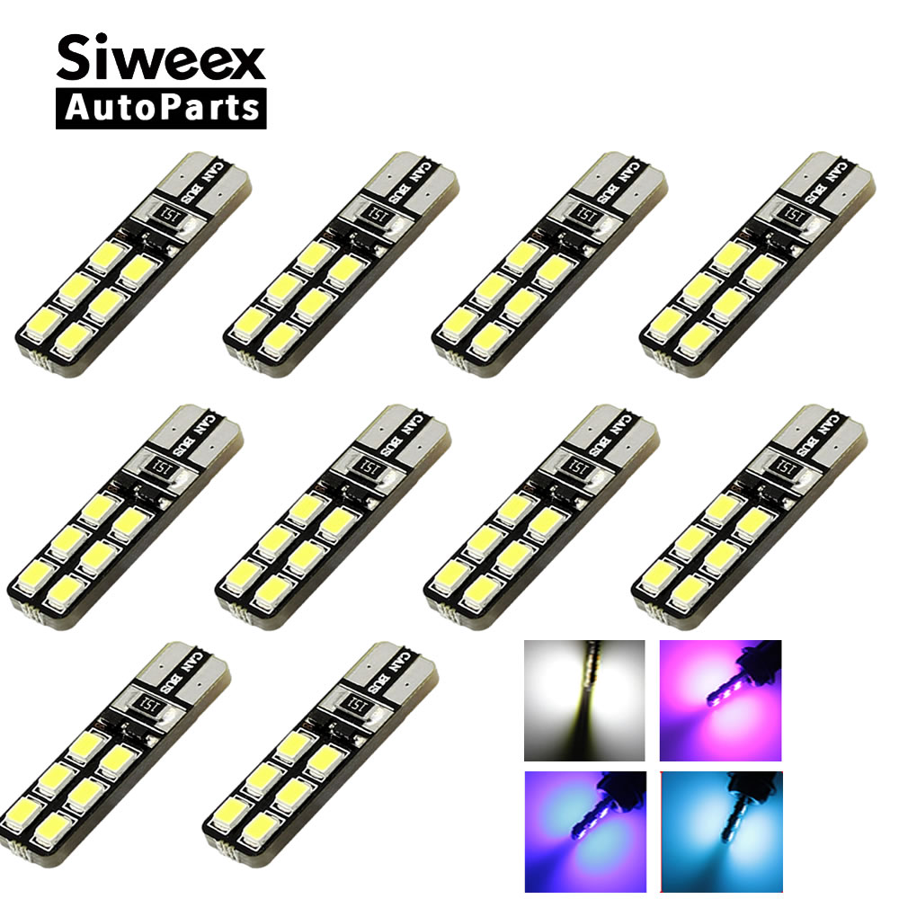 10pcs/lot T10 W5W <font><b>12</b></font> 2835/3528 <font><b>SMD</b></font> <font><b>LED</b></font> CANBUS OBC ERRO FREE DC 12V CAR DOME READING SIDE MARK DOOR LIGHTS BULBS WHITE BLUE PINK image