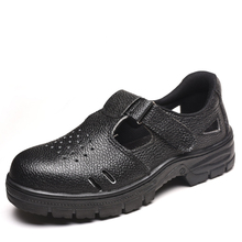 Labor insurance shoes safety protection breathable leather anti-smashing anti-smashing anti-smashing perforated work sandals