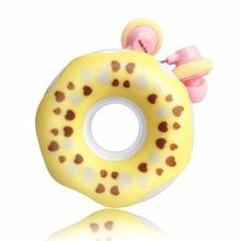 Sevimli Donut Kablolu Kulaklık Çocuk Kız Müzik Stereo Kulakiçi Kulaklık 3.5mm Jack Evrensel Telefon Için Doğum Günü noel hediyesi