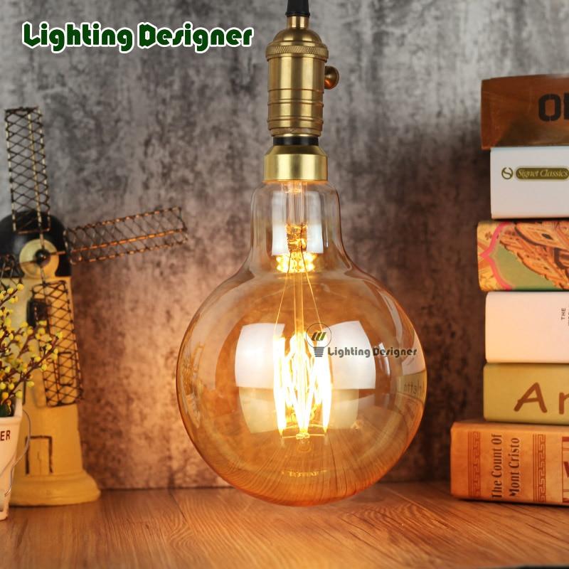 big size G150 Vintage led lamp Edison bulb  LED filament decor bulb 6W 220V light bulb warmth glow replace incandescent bulb vintage edison led bulb 4w st64 incandescent light lamp bulb e27 light led bulb filament bulb lighting tubes 220v bombilla
