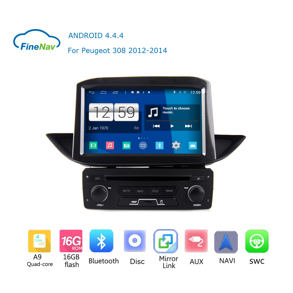 Quad core hd s160 android 4 4 4 touch screen car dvd gps for peugeot 308 2012 2013 2014 with wifi gps support 3g dvr dvb t