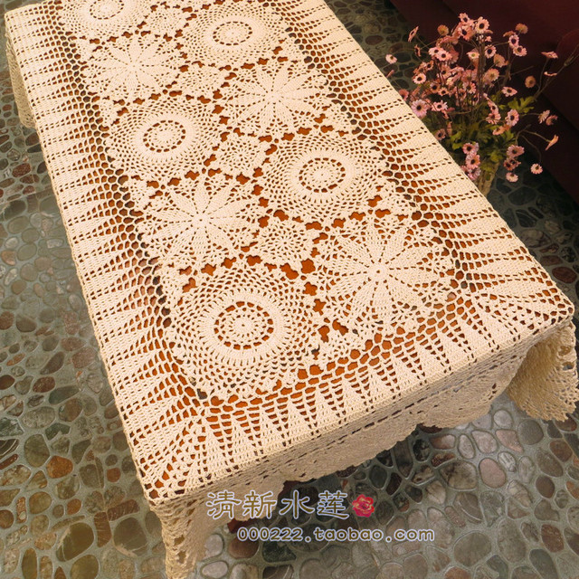 2018 New Cotton Crochet Lace Tablecloth Table Cover Piano Cloth With Flower Decoration Runner Beige Rectangle For Home