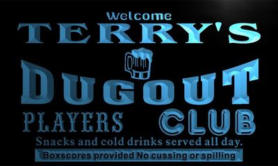 x0057-tm Terrys Dugout Players Club Custom Personalized Name Neon Sign Wholesale Dropshipping On/Off Switch 7 Colors DHL