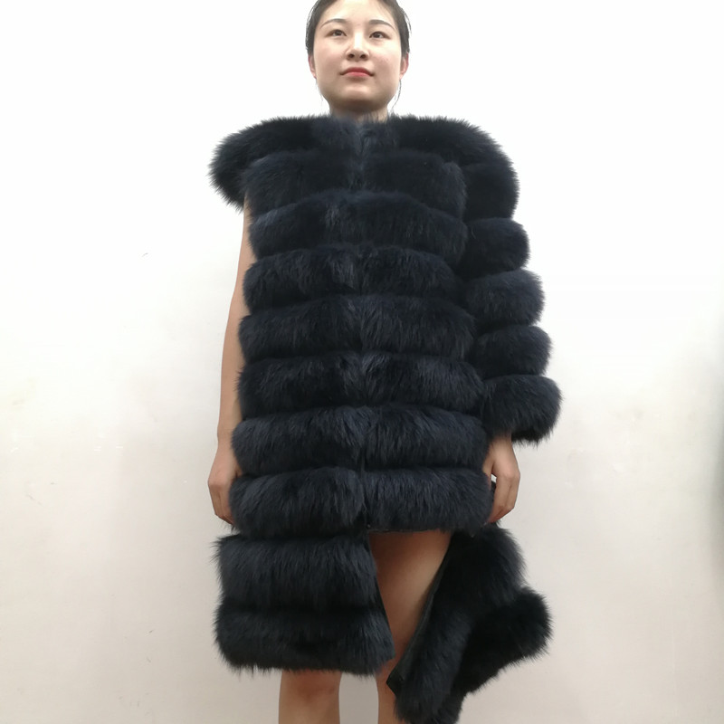 100% Natural Real Fox Fur Coat Women Winter Genuine Vest Waistcoat Thick Warm Long Jacket With Sleeve Outwear Overcoat plus size 6