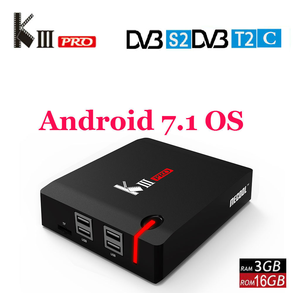 MECOOL KIII PRO DVB-S2 DVB-T2 DVB-C Android 7.1 TV Box 3 GB 16 GB Amlogic S912 Octa Core 4 K médias Lecteur Combo Set Top Box PowerVU