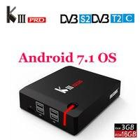MECOOL KIII PRO DVB S2 DVB T2 DVB C Android 7,1 ТВ коробка 3 ГБ 16 ГБ Amlogic S912 Octa Core 4 К Media Player комбо Декодер каналов кабельного телевидения PowerVU