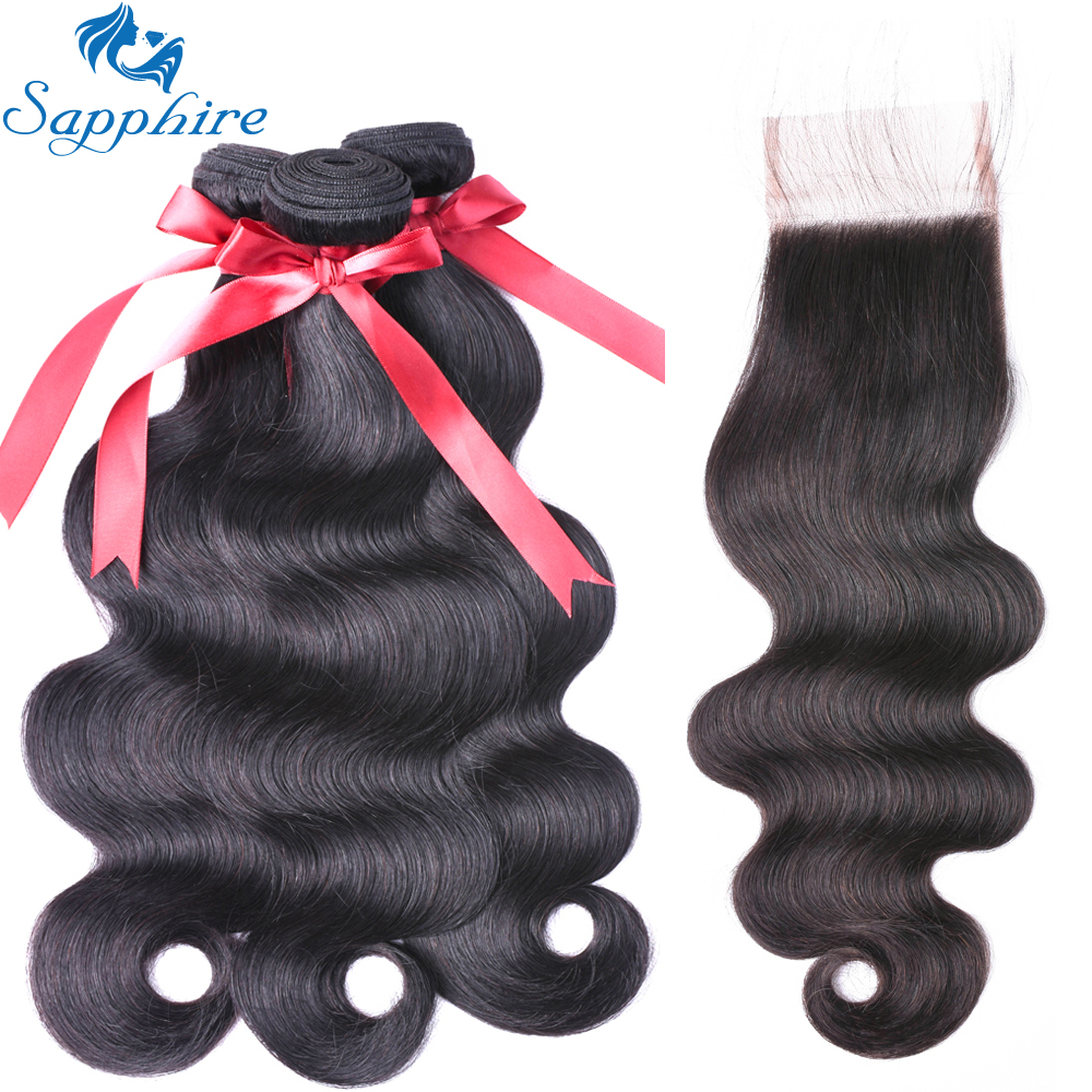 Sapphire Body Wave With Lace Closure 3 Bundles Brazilian Body Wave Remy Hair With Closure 100