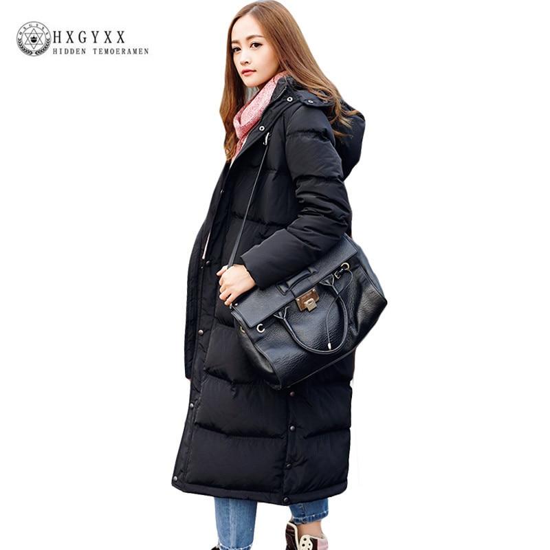 2018 New Winter Women Down Coat Black Long Warm White Duck Down Jacket Oversize Hooded Parka Plus Size Female Outerwear Okb149