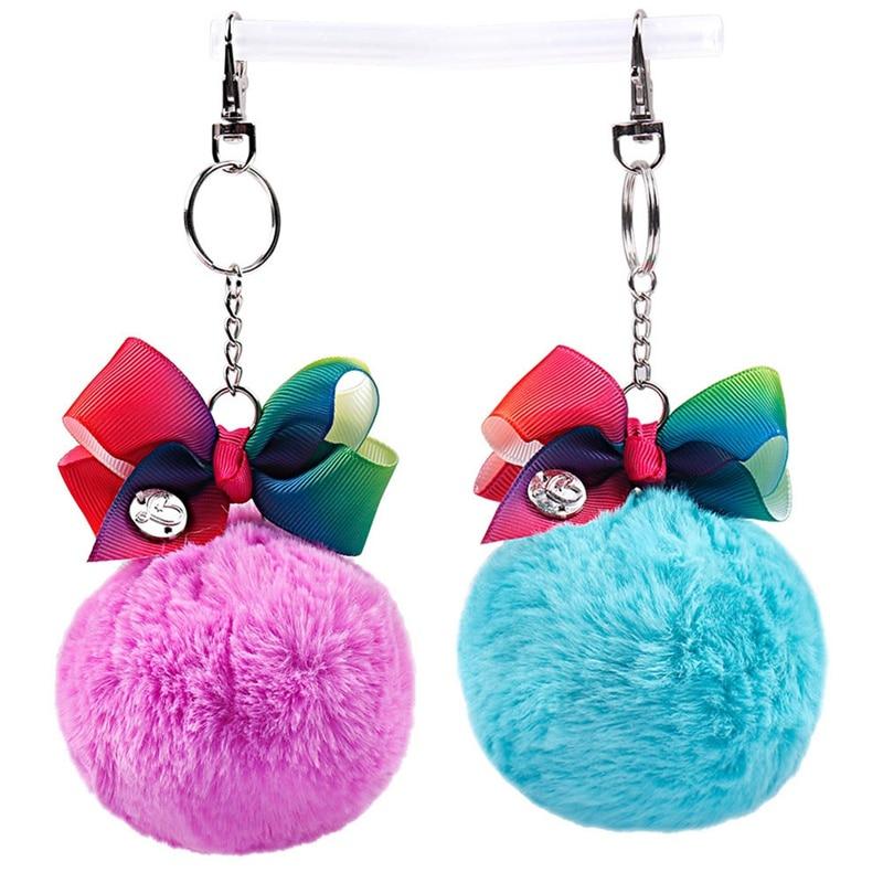 Cute Pompom Keychain For Girls Handmade Rainbow Knot Ball ...