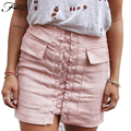 Women Elegant Solid Color Bandage Mini Skirt Sexy Hodycon Skirt Autumn Winter Casual Slim Pencil Skirt with Pocket