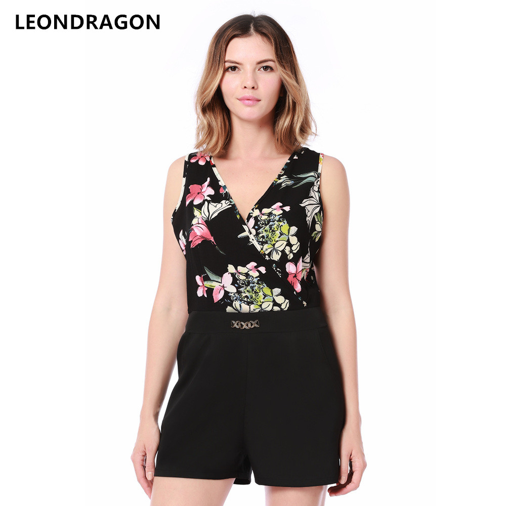 Sleeveless Summer Beach Women Black Playsuits Rompers Floral Print Streetwear Ladies Party Sexy V Neck Shorts Jumpsuits