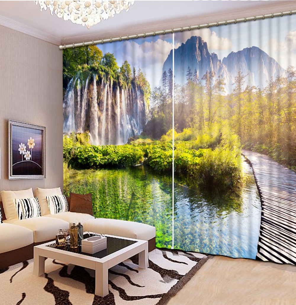 Modern 3D Curtains Nature Landscape Curtains Photo Painting Blackout  Curtains For The Bedroom(China (
