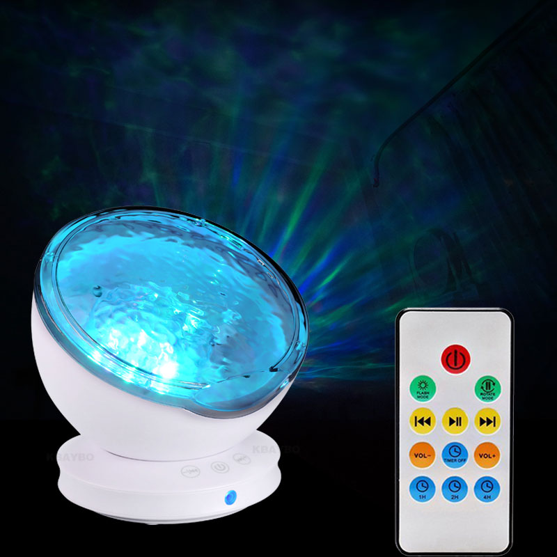 цена на USB Ocean wave projector Starry Sky Aurora LED Night Light Remote control Projector Novelty Lamp bedroom kids atmosphere lamp