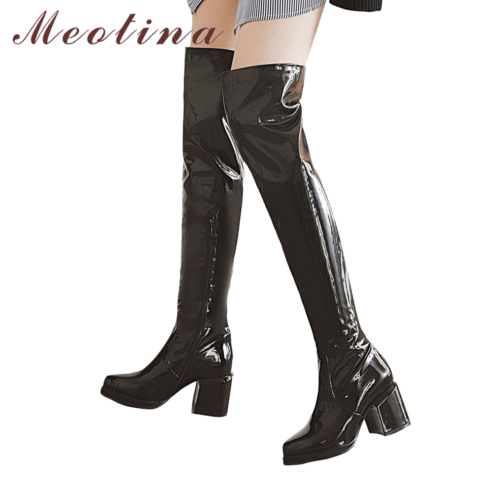 Meotina Over the Knee Boots Winter Thigh High Heel Boots Women Patent Leather Pointed Toe Long Boots Zipper Sexy Women Shoes 46 women genuine real leather over the knee boots winter boots sexy high heel fashion round toe zipper women boots shoes size 33 42