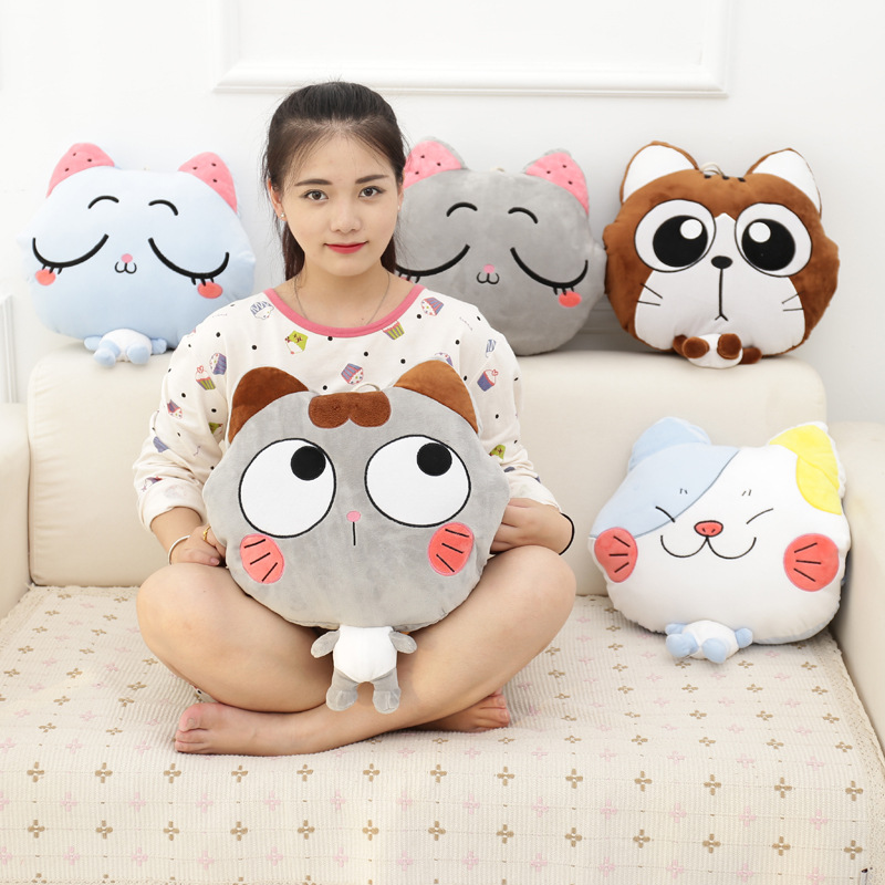 Winter Cute Cartoon Plush Stuffed Animal Toys Throw Pillow Blanket Set with Hand Warmer Design,Best New Year Gift For Boys&Girls 1pc kids cute gift winter cartoon plush toys hand warmer cartoon animals soft pillow hand hold warm christmas cushion gift 45