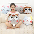 Winter Cute Cartoon Plush Stuffed Animal Toys Throw Pillow Blanket Set with Hand Warmer Design,Best New Year Gift For Boys&Girls