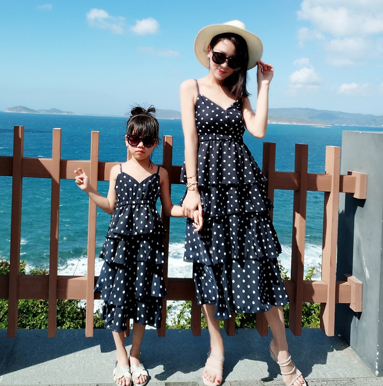Mother Daughter Tiered Dresses Family Look Mommy And Me Matching Outfits Mom Mum Mama And Daughter Chiffon V Neck Dress Clothes