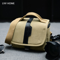 LVV HOME shoulder canvas camera storage bag/Leisure anti knock micro SLR bags photography organization