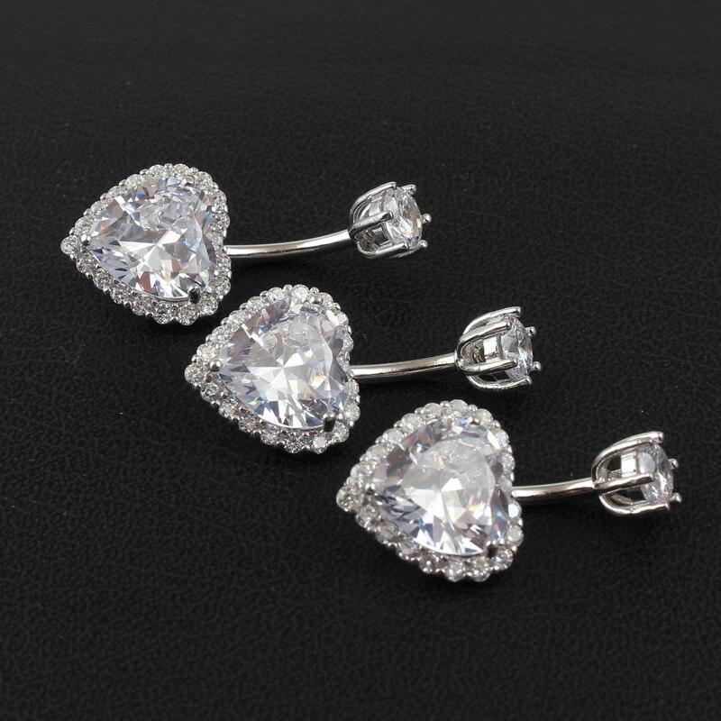 Real 925 sterling silver belly button ring women fine jewelry heart body piercing jewelry S925 6 8 10 mm navel bar zircon stones-3