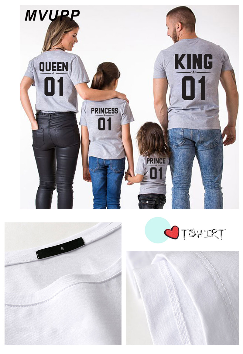 HTB1qznqdQxz61VjSZFrq6xeLFXan - Family Look Dad Mom Kid matching outfits mommy and me clothes mother daughter dresses Fashion T-Shits King Queen prince princess